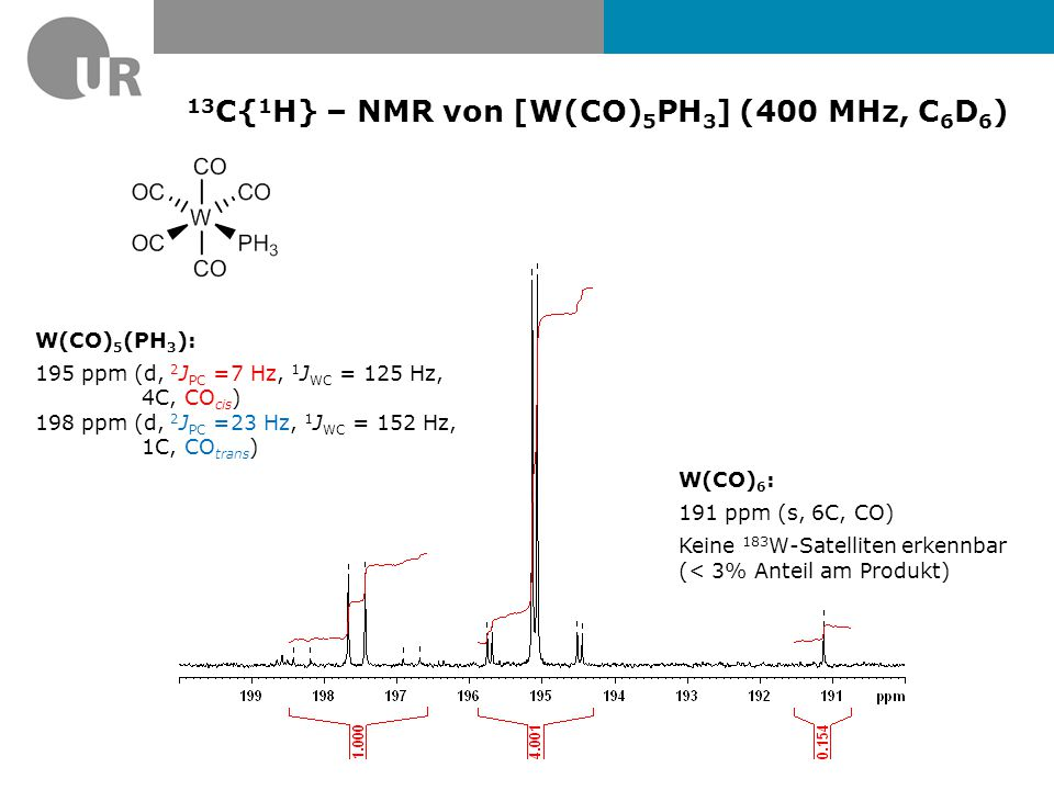 13C{1H} – NMR von [W(CO)5PH3] (400 MHz, C6D6)